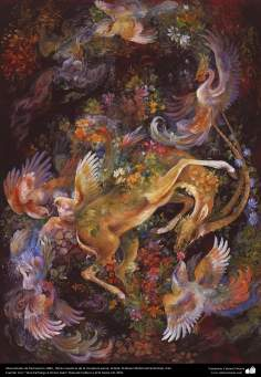 Manantiales de fascinación.1984 , Obras maestras de la miniatura persa; Artista Profesor Mahmud Farshchian, Irán
