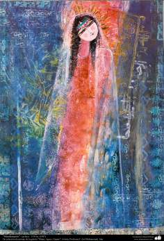 """هنراسلامی - نقاشی - جوهر و گواش - انتخاب نقاشی از گالری """"زنان، آب و آینه"""" - اثر استاد گل محمدی - نام اثر : تجلی"""
