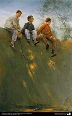 """Arte islamica-Pittura-Olio su tela-Opera di maestro Morteza Katusian-""""Ricordi di infanzia""""-1992"""