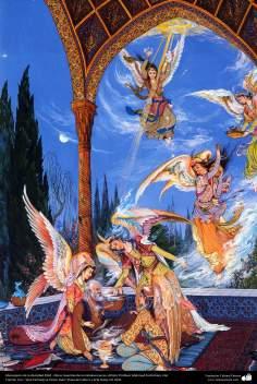 Mensajeros de la divinidad.1962 , Obras maestras de la miniatura persa; Artista Profesor Mahmud Farshchian, Irán