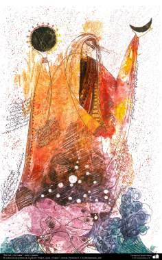 イスラム美術、インク・ガッシュ(ゴルモハマデイ画家の「女性、水と鏡ギャラリ」からの「私と太陽と月」)