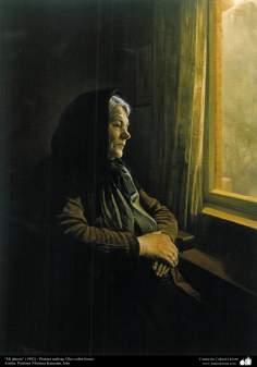"""Art islamique - peinture à l'huile sur toile - artiste: M. Katouzian -""""Ma grand-mère"""" -1982"""