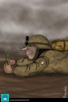Caricatura - Militarismo e paz