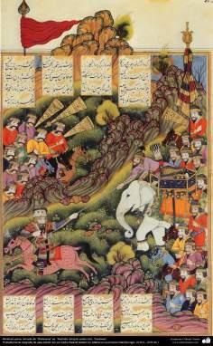Miniature persane, pris de Shahname éd. Rashida le grand poète iranien, Ferdowsi(12)