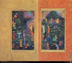 "Art islamique - un chef-d'œuvre du  miniature persan - Sultan Husayn Mirza et le loisir - le petit livre ""Muraqqa-e Golshan"" - 1605, 1628-"