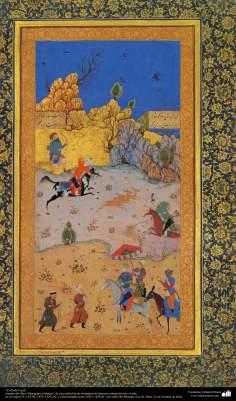 """Miniatura """"preservar a caça"""", Muraqqaq-e Golshan, uma coleção de miniaturas de famosos artistas da Índia e do Irã"""