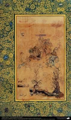 """Miniatura - """"Pedras e cães"""", retirado do livro Muraqqaq-e Golshan. Artista: Kamalud-Din Behzad"""