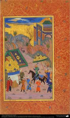 هنر اسلامی - شاهکار مینیاتور فارسی - پادشاه در حضور زاهد - کتاب کوچک مرقع گلشن - 1605،1628