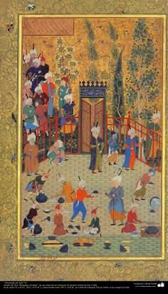 イスラム美術(ペルシャミニチュアの傑作、Muraqqa-E Golshan書物の「アセフの扱い」- 1605.1628)