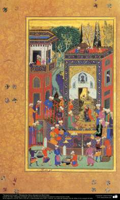 """Arte islamica-Capolavoro di miniatura persiana,""""Banchetto nel tribunale"""",artista Reza,discepolo di Shah Salim"""