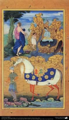 """Miniatura - """"O noivo e o cavalo"""" - tirado do livro Muraqqa-e Golshan, século XVI d.C"""