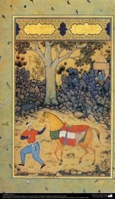 """Miniatura - """"Cavalo e criado"""" - tirado do livro Muraqqa-e Golestan"""