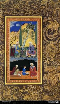 """Miniatura - """"En la presencua de asceta"""" - tomado del libro Muraqqa-e Golshan"""