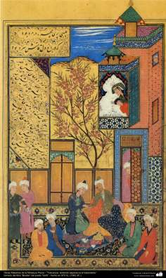 "Persian Miniature, taken from ""Bustan"" by Sa'di, made in 152 b.C"