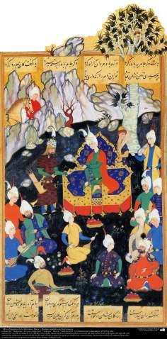 Miniatura Persa- Rostam e Keykawous personagens do épico persa Sahnameh.