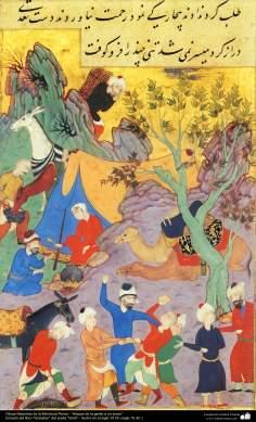 "Miniature persane - ""Attaque sur un jeune"" - le livre ""Golestan"" poète ""Sa'di"""