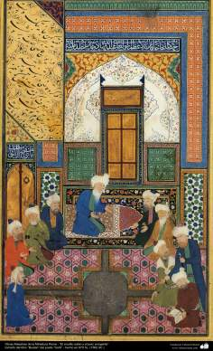"""Miniatura Persa - """"El erudito sabio y el juez arrogante""""- tomado del libro """"Bustan"""" del poeta """"Sa'di"""" - hecho 1562 dC."""