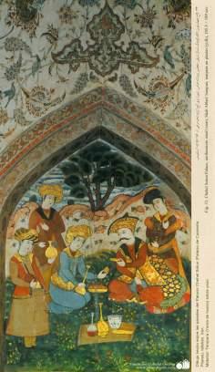 """شہر اصفہان میں """"چہل ستون"""" نام کی پرانی عمارت کی دیواروں پر مینیاتور پینٹنگ (تصویرچہ)، ایران - ۹"""