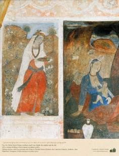 Miniatura en mural de Chehel Sotun (palacio de los Cuarenta Pilares) de Isfahán, Irán -2