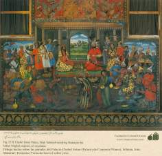 Miniature on Persian Mural - Chehel Sutun (Palace of the 40 pilllars in Isafahan) - 9