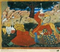 Miniatura en mural persa de Chehel Sotun (palacio de los Cuarenta Pilares) de Isfahán - 44