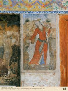 Miniature on persian mural of Chehel Sutun  (The Palace of 40 Pillars) in Isfahan - 34