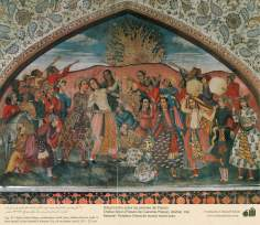 Miniature on Persian Mural - Chehel Sutun (Palace of the 40 pilllars in Isafahan) - 14