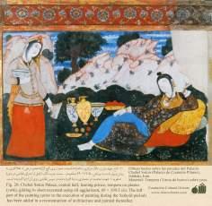 Miniatura en mural persa de Chehel Sotun (palacio de los Cuarenta Pilares) de Isfahán - 90