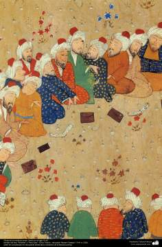 "Miniatures of the Book ""Panj Ganj"" - Persian miniature made in the 16th century AD. Book ""Khamse"" or ""Panj Ganj"" Five Tesoro - The poet ""Nezami Ganjavi"" - 19"