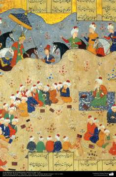 "Arte islamica-Capolavoro di miniatura persiana-Libro di ""Khamse"" o ""Panj-Ganj"",poeta ""Nezami Gangiavi""(1141-1209)-26"