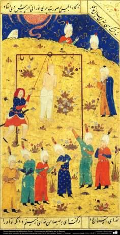 """Miniature persane. Discuter du diable avec Barsa- prise de la collection des œuvres poétiques du poète """"Sa'di"""""""
