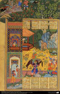 "Miniature of book ""Panj Ganj"" - Persian miniature made in the 16th century AD - Book ""Khamse"" or ""Panj Ganj"" Five Tesoro - The poet ""Nezami Ganjavi"" - 22"