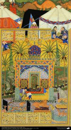 "Miniatures of the Book ""Panj Ganj"" - Persian miniature made in the 16th century AD. Book ""Khamse"" or ""Panj Ganj"" Five Tesoro - The poet ""Nezami Ganjavi"" - 21"
