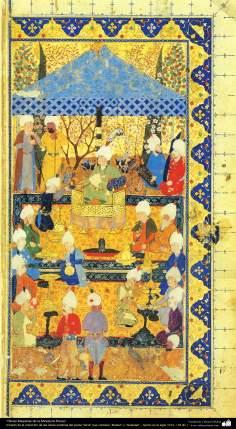 """Miniatura persa- tomado de la colección de las obras poéticas del poeta """"Sa'di"""", """"Bustan"""" y """"Golestan"""" - hecho en el siglo 16 dC (10)"""