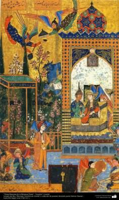 """Miniatura Persa - Extraído do livro """"Maznawi Yamshid wa Jorshid"""" - do poeta persa Salman Sawoyi (siglo XVI)"""