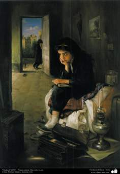 """Moving"" (1987) - Realistic Painting; Oil on Canvas - Artist: Prof. Morteza Katuzian"