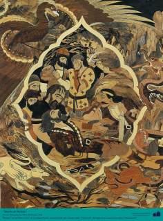 Morte de Rostam (2) - Personagem do épico Shahnameh de Ferdowsi - Marchetaria Persa