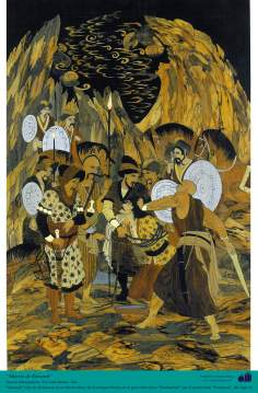 """Morte de """"Siawash"""" - Personagem do livro shahnameh do grande poeta iraniano Ferdowsi - Século X - marchetaria persa -"""