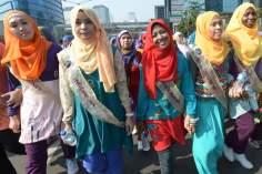 Mujer musulmana  Indonesia- Bangladesh- desfile de moda (Miss World Muslimah 2013)