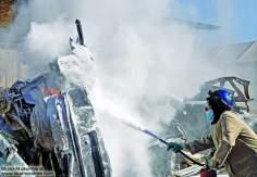 Iranische, muslimische Feuerwehrfrau - Die muslimische Frau und die Arbeit - Foto