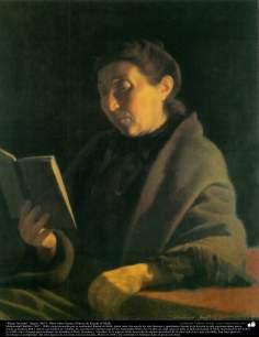 イスラム美術(Kamalolmolk画家による「熟読中の女の人」キャンバス油絵」-1903年)