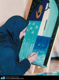 Muslim Woman and Painting