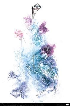 イスラム美術、インク・ガッシュ(ゴルモハマデイ画家の「女性、水と鏡ギャラリ」からの「ペルシアの女性」)