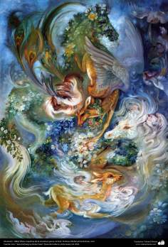 イスラム美術(マフムード・ファルシチアン画家のミニチュア傑作「跳躍」(1985年)