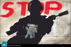 Caricatura - Meninos e guerra 