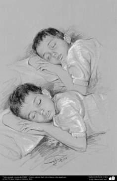 イスラム美術(キャンバス油絵、モレテザ・カトウゼイアン画家の「睡眠中の男の子」