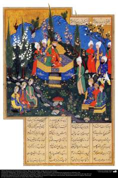 هنر اسلامی - شاهکار مینیاتوری فارسی - فریدون پسران و دختران پادشاه یمن گرفته شده از کتاب شاهنامه فردوسی شاعر بزرگ ایران