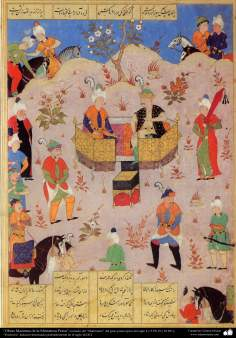 """""""Obras Maestras de la Miniatura Persa""""; Escena de la batalla entre Shiruye y Josrow- tomado del """"Shahname"""" de """"Ferdowsi"""""""