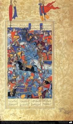 هنر اسلامی - شاهکار مینیاتور فارسی - صحنه نبرد گرفته شده از شاهنامه فردوسی - 1