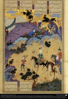 الفن الإسلامية - روائع المنمنمة الفارسي- مأخوذة من شاهنامه فردوسی، شاعر الکبیر الايراني – نسخة شاه (الملک) طهماسبی - 34